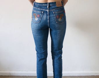 Vintage 90s LEVI's One of a Kind Paisley Printed High Waisted Denim Jeans
