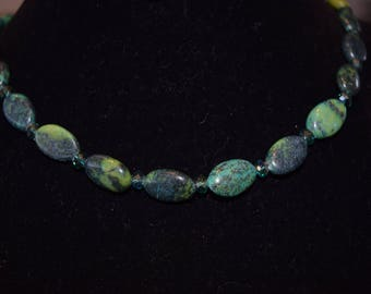 Chrysocolla oval bead necklace.