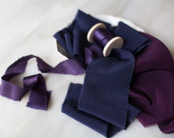 Luxe 'The Royals' Bouquet Bundle; sets of hand made, plant dyed silk ribbon.