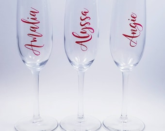 Custom name vinyl decal for wine glass, Personalized wine glass Decal
