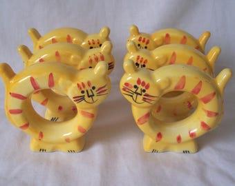 Tabby Cat Tiger Napkin Rings - Set of Six Napkin Rings - Tiger Cat Napkin Rings