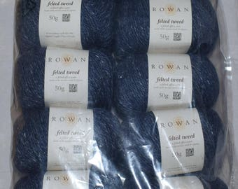 10X50g Rowan Felted Tweed DK 178 Seasalter 50%Merino Wool 25Alpaca 25Viscose Blue 500g Knitting Wool
