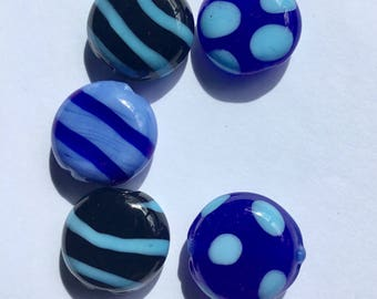 Blue/Black Kazuri Glass Beads - Fair Trade from Kenya - Pack of 5 Beads Size 15cm approx