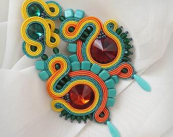 Colorful earrings boho soutache earrings, Long green orange earrings, emerald earrings, colorful beaded earrings, Soutache jewelry