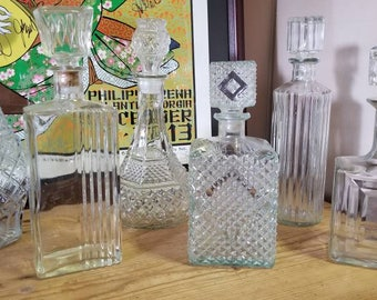 Collection of 6 Vintage Glass Decanters