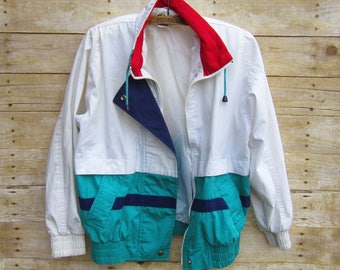Vintage Color Block Windbreaker- White Red and Aqua Jacket  - Street Wear -Size SMALL Nautical