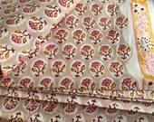 Hand Block Printed Indian Cotton Voile Fabric, Border Print Fabric, Hand Stamped Fabric Print, Indian Mulmul, Buta Print, Fabric By the Yard
