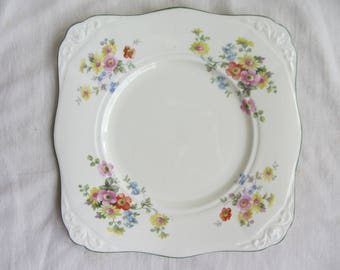 Vintage Tuscan China (Plant) bone china cake plate, afternoon tea, bridal shower, tea party. Collectable traditional china 1930's