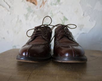 Vintage Oxfords Shoes - 70s 1970s Brown Leather Loafers Italy 6.5 6