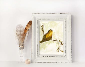 Yellow Mama Bird / Watercolor / UNFRAMED Art Print / 8.5 x 11