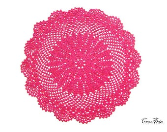 Round Crochet Doily, Hot Pink Crochet Doily, Table decoration, Centrino Fucsia