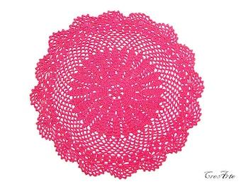 Round Hot Pink crochet doily, centrino rotondo fucsia all'uncinetto
