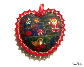 Christmas fabric heart with Gold and Red lace, Christmas heart pincushion, Cuore di stoffa di Natale con pizzo rosso e oro