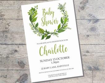 Greenery Wreath DIY Printable BABY SHOWER Gender neutral baby shower invitation