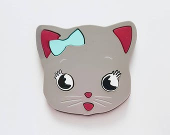LITTLE MISS KITTY acrylic lasercut grey kawaii cat brooch