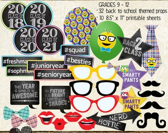 Photo Booth Props, BACK TO SCHOOL, homecoming, high school, printable sheets, instant download, selfie station