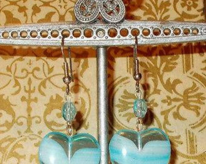 Vintage 90s Hippie Chic Handmade Blue Heart Glass Bead Dangle Stainless Steel Earrings