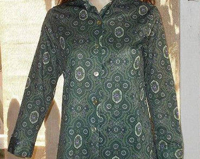 Vintage 70s Land N Sea MOD Hippie Disco Green Purple Floral Paisley Polyester Womens Long Sleeve Blouse Shirt Top M