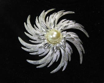 Sara Coventry 1950s silver and pearl brooch