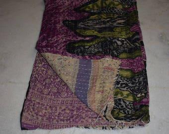 Vintage Kantha Quilt Reversible Ralli Indian Cotton Blanket Throw Bedding Gudari 2220 BY artisanofrajasthan