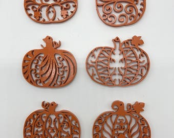 Filigree Pumpkin Ornament Set - Orange Painted Plywood