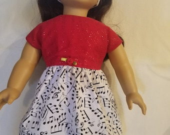 American Handcrafted 18 inch girl Doll Clothes by Dixie ! Musical Dress