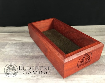 Premium Dice Tray - Personal Sized - Padauk with Felt or Leather Rolling Surface - Eldertree Gaming