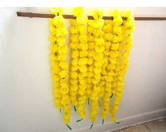 Yellow marigold flowers string, artificial flower garlands 5 feet, party backdrop, Christmas decoration, photo prop, Indian wedding decor