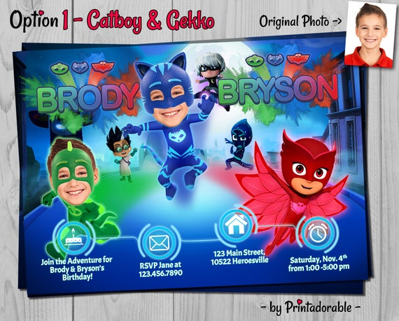 PJ Masks Invitation for Twin brothers - Customizable Photo - PJ Masks Birthday Invite for twins - Choose your hero: Catboy, Gekko, Owlette