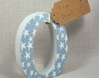 Dusky Blue with Stars Nursery Letters