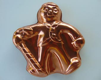 Vintage Copper Cake Pan Jello Mold Gingerbread man with Candy Cane