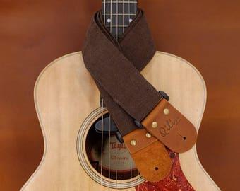 Brown Denim Guitar Strap