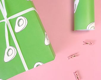 AVOCADO GIFT WRAP, Wrapping Paper, Funny Gift Wrap, Green Gift Wrap, Birthday Gift Wrap, Birthday Wrapping Paper, Vegetarian Gift,