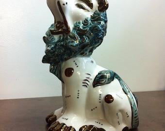 Vintage Lion Figurine - Ceramic Ornament - Foo Dog Lion - White Turquois and Bronze Colour - Mantel Piece