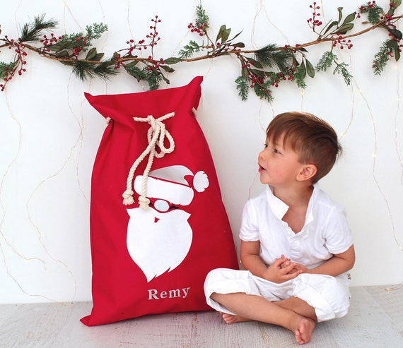Personalised Santa Sack Red - Santa face