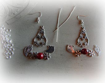 Kit chandelier earrings with 5 petals, blood red beads and leaf charms, bird and flower