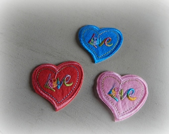3 patches patches appliques fusing hearts iron-on or sew 5 * 5 cm