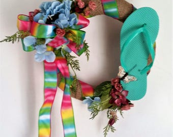 Small Summer Front Door Wreath, Pool Wreath, Small Summer Wreath, Beach Wreath for Front Door, Beach Wall Hanger, Flip Flop Wreath