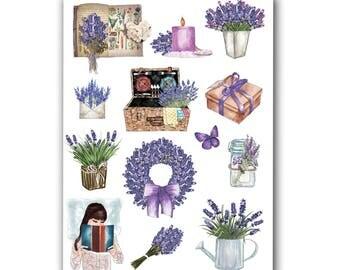 Lavender Stickers Set in Purple Colors