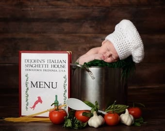 Chef hat, baby chef hat, newborn chef, newborn chef hat, crochet chef hat, chef photo prop, chef prop, baby chef,