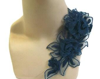 Teal Lace Applique, Dark Turquoise 3D Lace Applique, Teal Lace Motif, Tutu Decoration, Teal Trim, Costume Trim, Teal Headpiece, #23