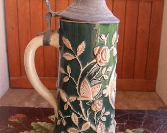 ON SALE German Stein, Beer Stein, Hand Painted, Flowers and Buterflies