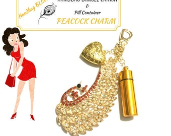 Rhinestone Peacock Handbag Dangle, Gold Bling Bag Charm, Girlfriend gift, Convenient Pill Container,Useful Bag Dangle, Stylish Gift