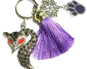 Mauve Paw Tassel Zipper Pull, Tassel Bag Charm, Key Ring, Bag dangle,Verstile key Ring, Pet Lover Gift, Caring Gift,