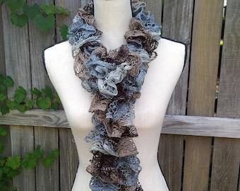 Sashay Scarf - Gray Brown Scarf - Knitted Scarf - Sashay Ruffle Scarf - Neutral - Lightweight Scarf - Fashion Accessories - Summer Scarf