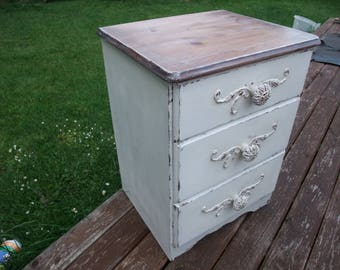 SHABBY-RUSTIC charm bedside table,white pine chest of  3 drawers,nightstand cabinet,small cupboard,up-cycled cabinet,home decor