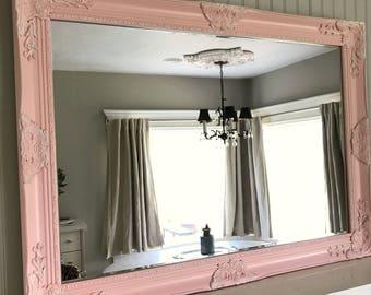 Pink Nursery Mirror, Shabby Cottage Chic, Large Mirror, Large Wall Hanging, Bathroom Vanity, Ornate Mirror, Wedding Gift, Leaning Mirror