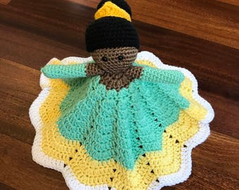 Crochet Disney Inspired Princess Tiana Doll, Lovey, Security Blanket