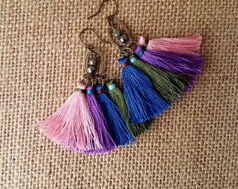 Tassel earring, pyrite earring, tassel dangle earring, drop and dangle earring