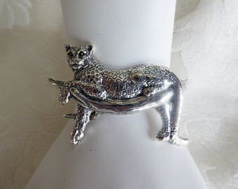 Sterling Silver Handmade Silver Leopard in a Tree Bracelet